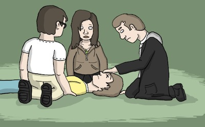 Shadow Man heals Scott while Penny & Peter watch